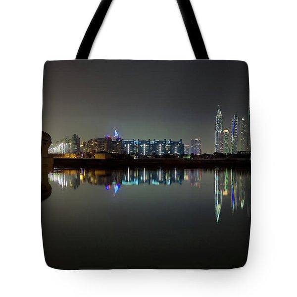 Dubai City Skyline Night Time Reflection Tote Bag