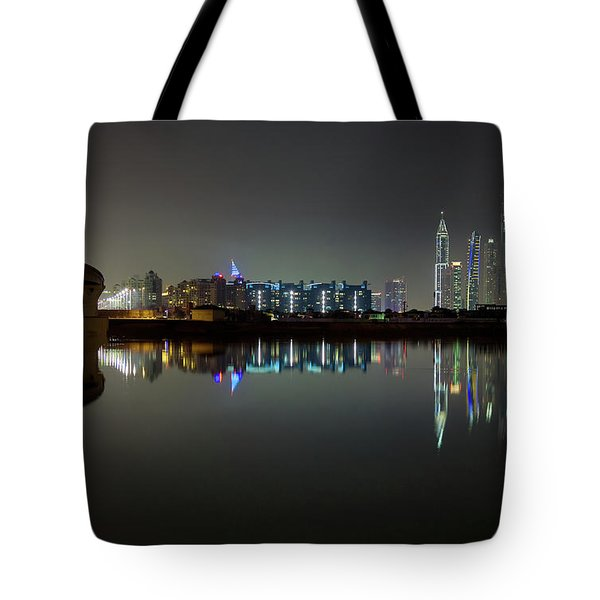 Dubai City Skyline Night Time Reflection Tote Bag