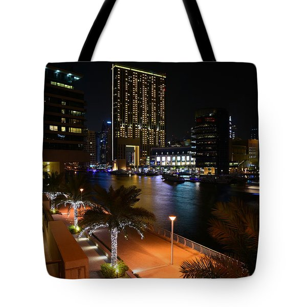 Dubai Marina Lights Tote Bag