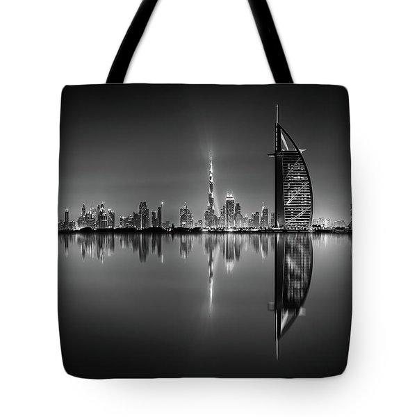 Dubai Skyline Reflection At Amazing Night, Dubai, United Arab Emirates Tote Bag