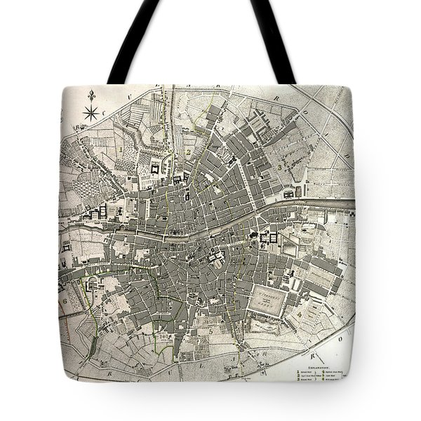 Dublin Ireland Map Ca1797 Tote Bag