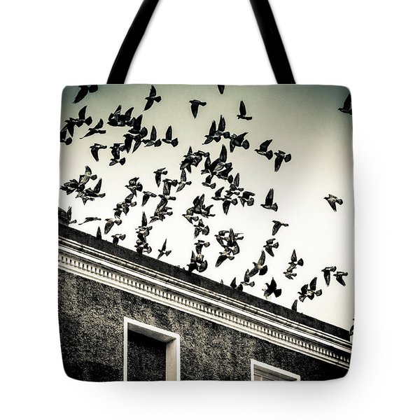 Tote Bag featuring the photograph Flight Over Oscar Wilde's Hood, Dublin by Jennifer Wright