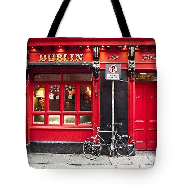 Dublin Red Pub Tote Bag by Rae Tucker
