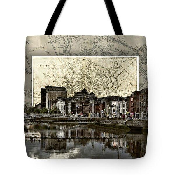 Dublin Skyline Mapped Tote Bag