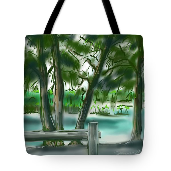 Tote Bag featuring the painting Dubois Park Lagoon by Jean Pacheco Ravinski