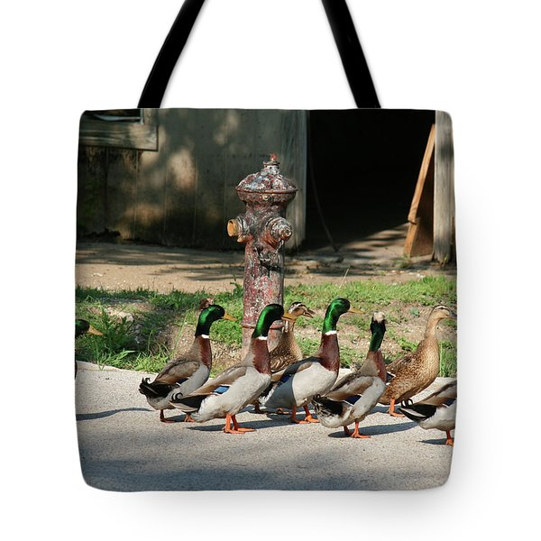 Duck And Hydrant Tote Bag