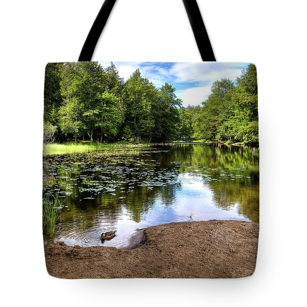Tote Bag featuring the photograph Duck At Covewood by David Patterson