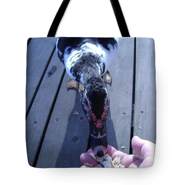Duck Eating From My Hand Tote Bag