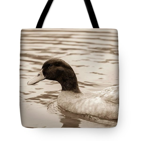 Duck In Pond Tote Bag