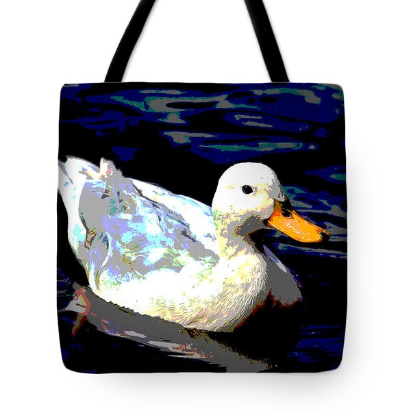 Tote Bag featuring the mixed media Duck In Water by Charles Shoup