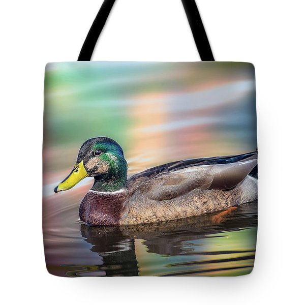 Duck In Water With Autumn Colors Tote Bag