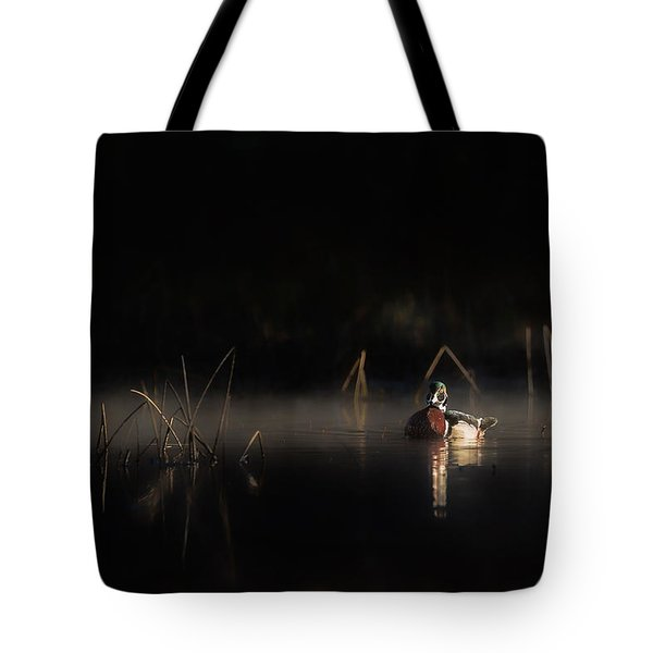 Tote Bag featuring the photograph Duck Of The Morning Mist by Bill Wakeley