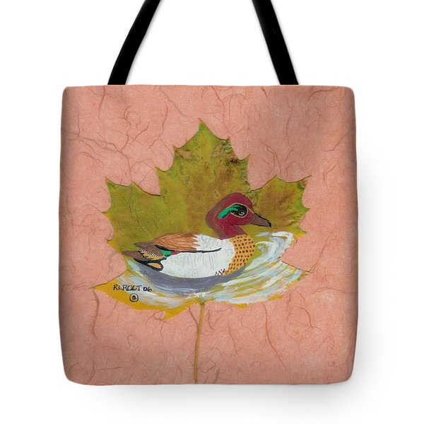 Duck On Pond Tote Bag