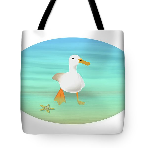 Duck Paddling At The Seaside Tote Bag