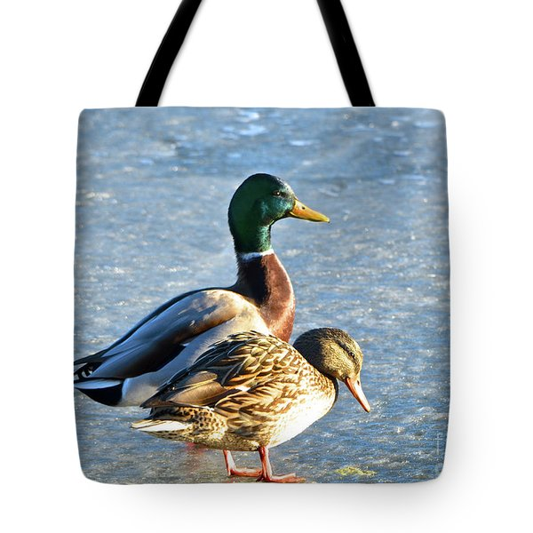 Duck Pair On Frozen Lake Tote Bag