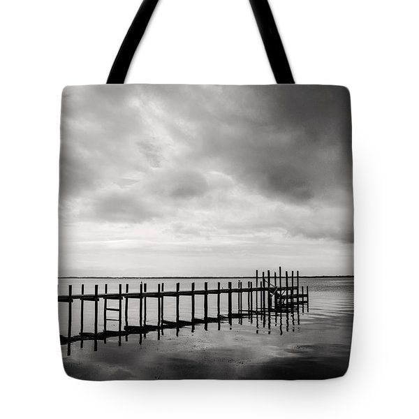 Duck Pier In Black And White Tote Bag