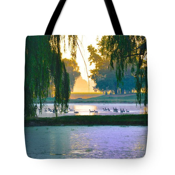 Duck Pond At Dawn Tote Bag by Bill Cannon