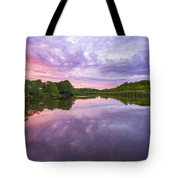 Duck Pond August Sunset Tote Bag