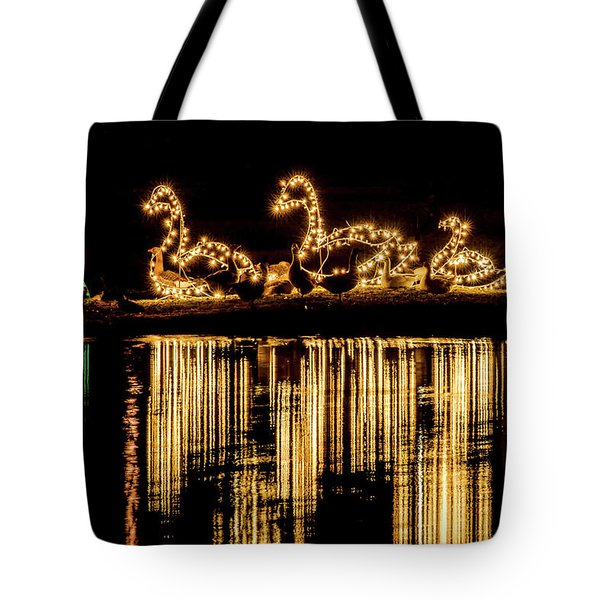 Duck Pond Christmas Tote Bag