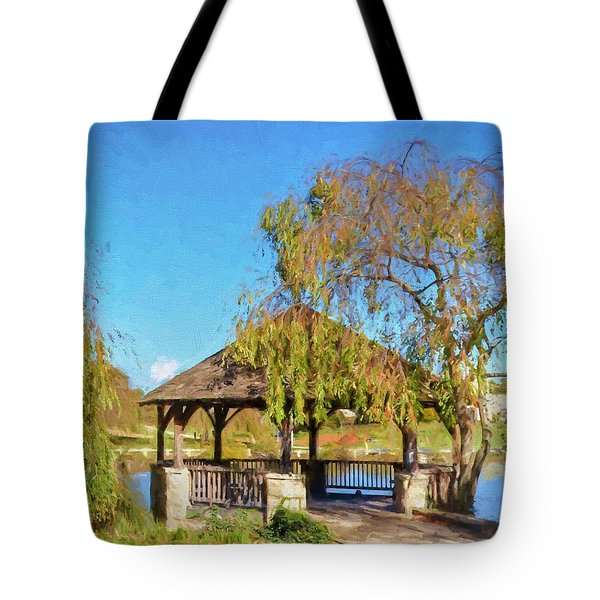 Duck Pond Gazebo At Virginia Tech Tote Bag