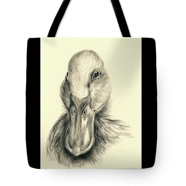 Duck Portrait In Charcoal Tote Bag