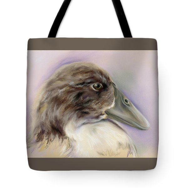 Duck Portrait In Gray And Brown Tote Bag