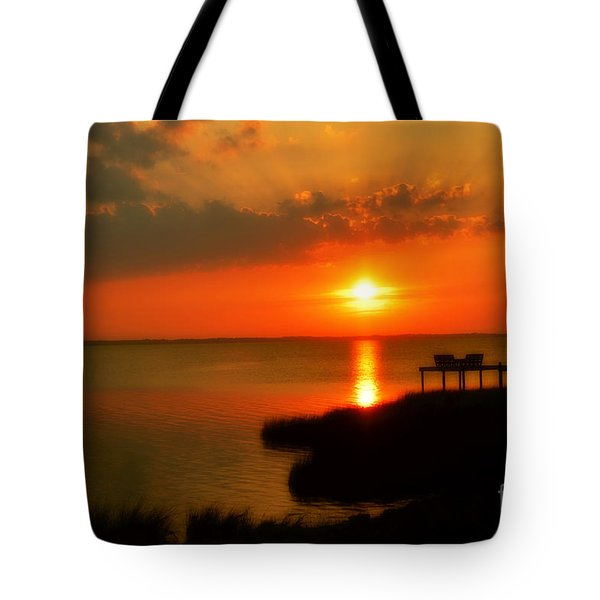 Duck Sunset Outer Banks North Carolina Tote Bag by Randy Steele