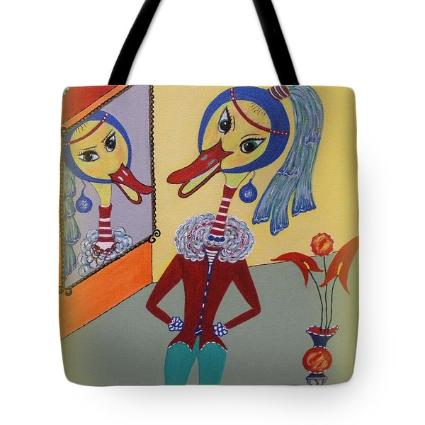 Tote Bag featuring the painting Duck With A Sapphire-pearl Earring by Marie Schwarzer