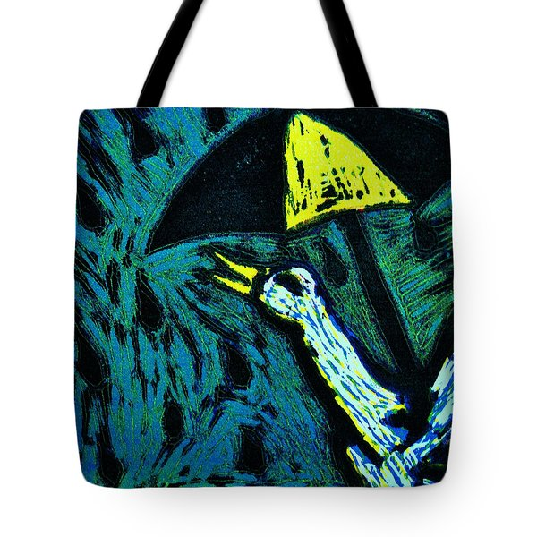 Duck With Umbrella Blue Tote Bag by Lucy Deane