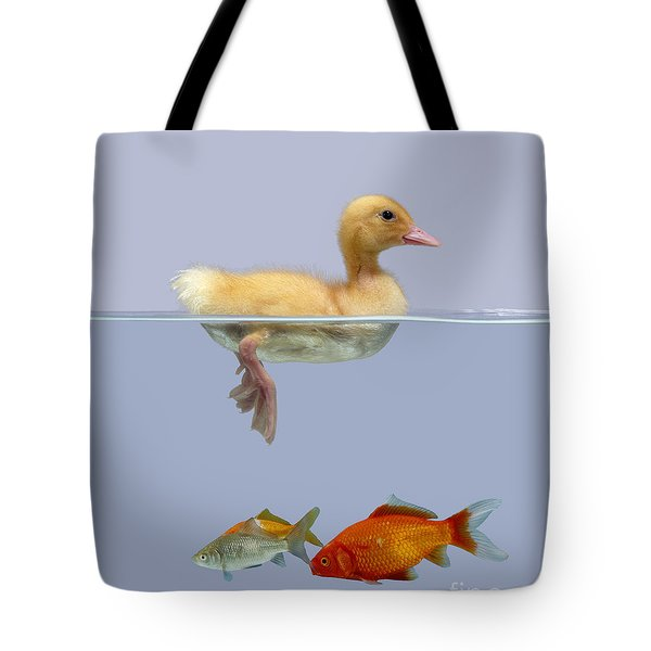 Duckling And Goldfish Tote Bag by Jane Burton