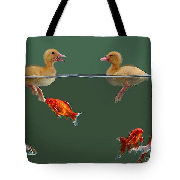 Ducklings And Goldfish Tote Bag by Jane Burton