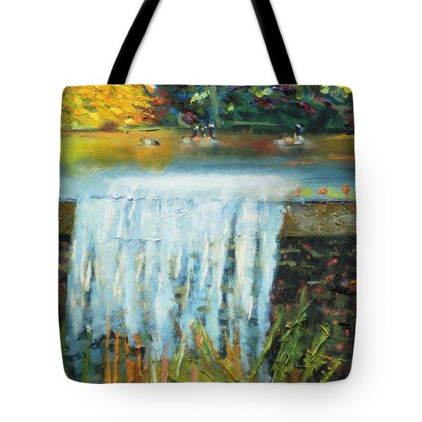 Ducks And Waterfall Tote Bag