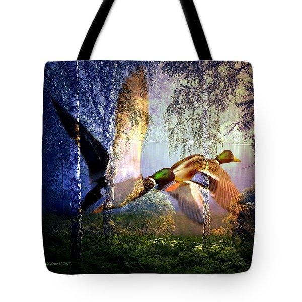Ducks Flying To The Lake Tote Bag