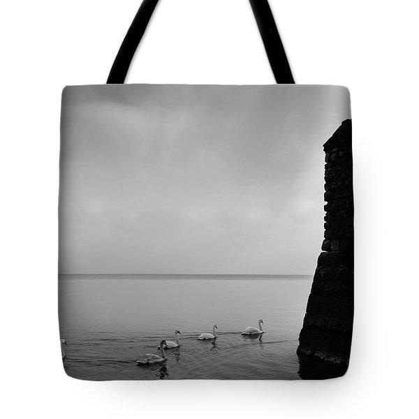 Ducks In Lake Garda, Italy Tote Bag