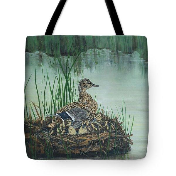 Ducks In Lifting Fog Tote Bag