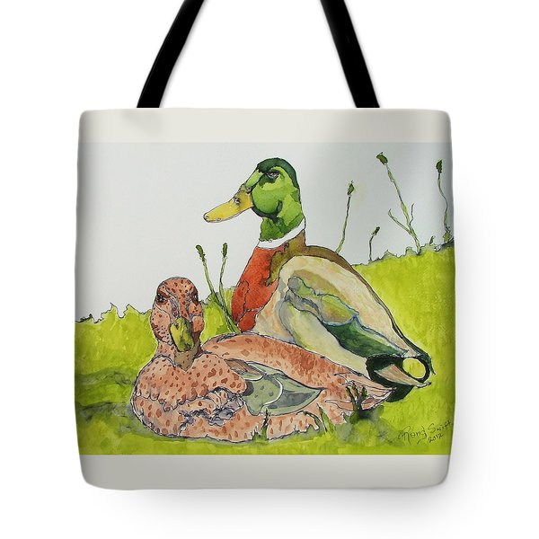 Tote Bag featuring the painting Ducks In Love by Rand Swift