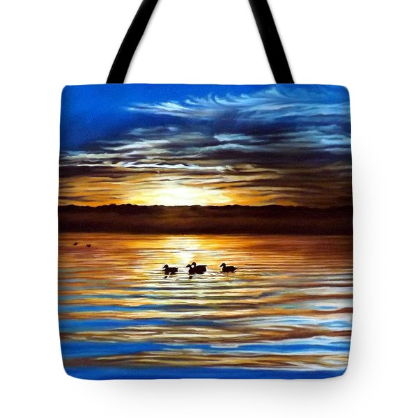 Ducks On Clear Lake Tote Bag by Linda Becker