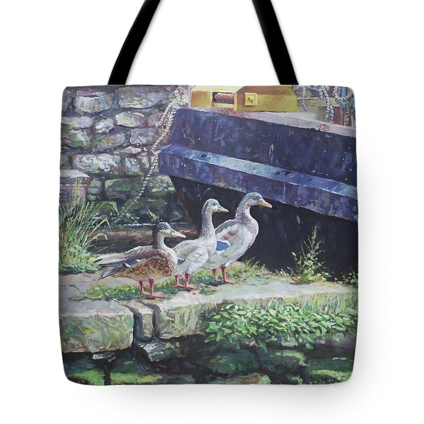 Tote Bag featuring the painting Ducks On Dockside by Martin Davey