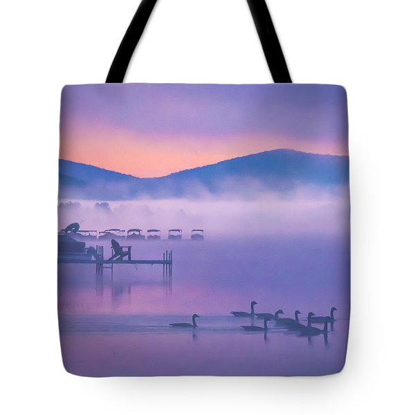 Ducks Under Fog Tote Bag