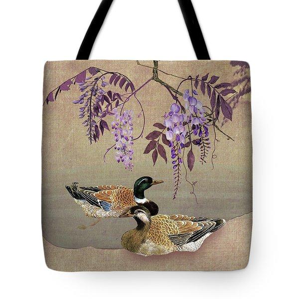 Ducks Under Wisteria Tree Tote Bag
