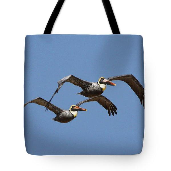 Duel Pelicans In Flight Tote Bag