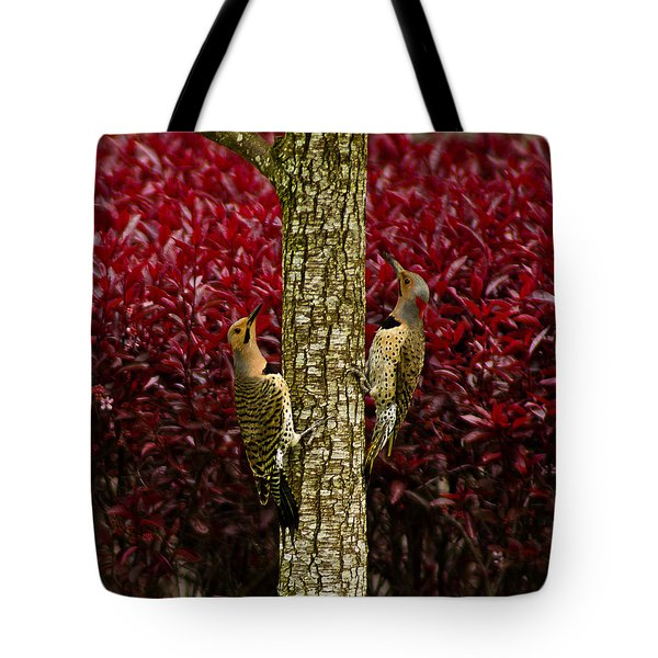 Dueling Woodpeckers Tote Bag