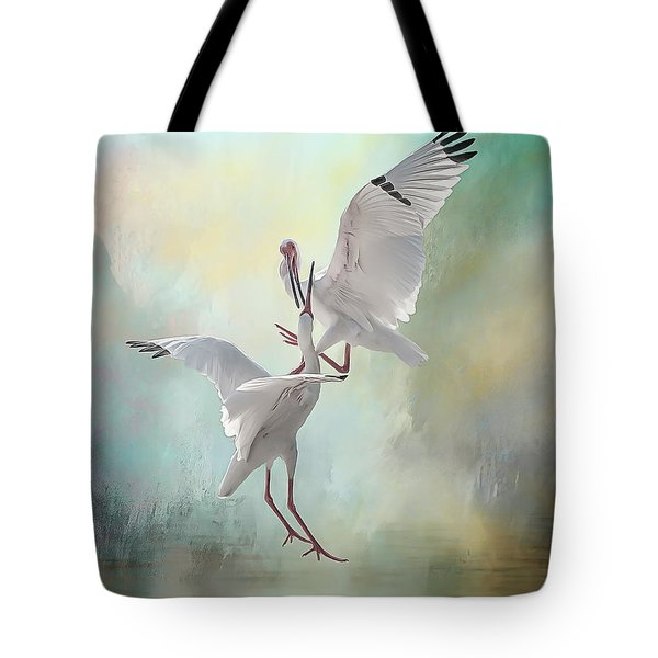 Duelling White Ibises Tote Bag