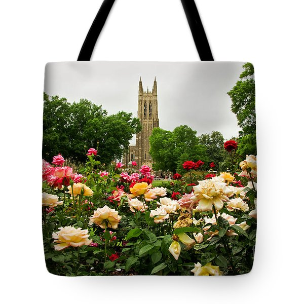 Duke Chapel And Roses Tote Bag