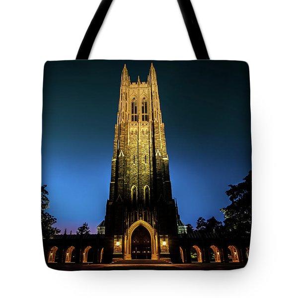 Duke Chapel Lit Up Tote Bag
