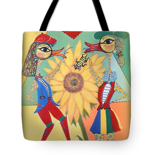 Tote Bag featuring the painting Duke Have A Honey-bee by Marie Schwarzer