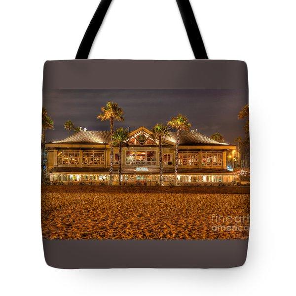 Tote Bag featuring the photograph Duke's Restaurant Huntington Beach - Back by Jim Carrell