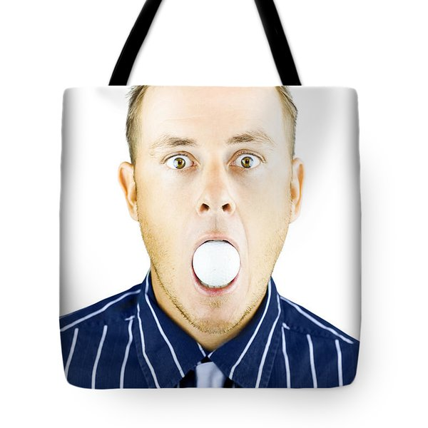 Dumbfounded Man Silenced By A Golf Ball Tote Bag