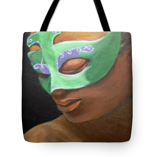 Tote Bag featuring the painting Dunbar's Mask by Saundra Johnson