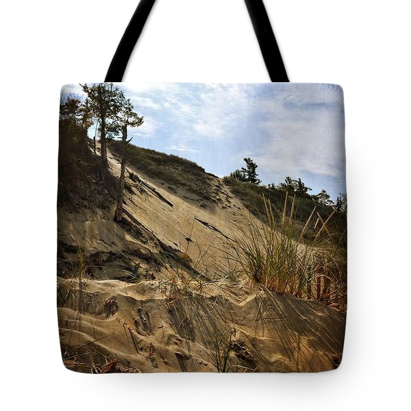 Tote Bag featuring the photograph Dune And Blue Sky by Michelle Calkins